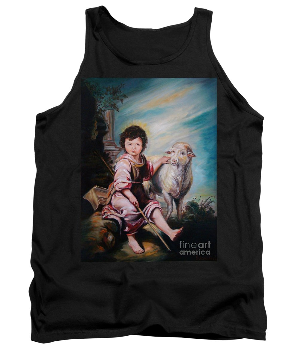 Classic Art Tank Top featuring the painting The Good Shepherd by Silvana Abel