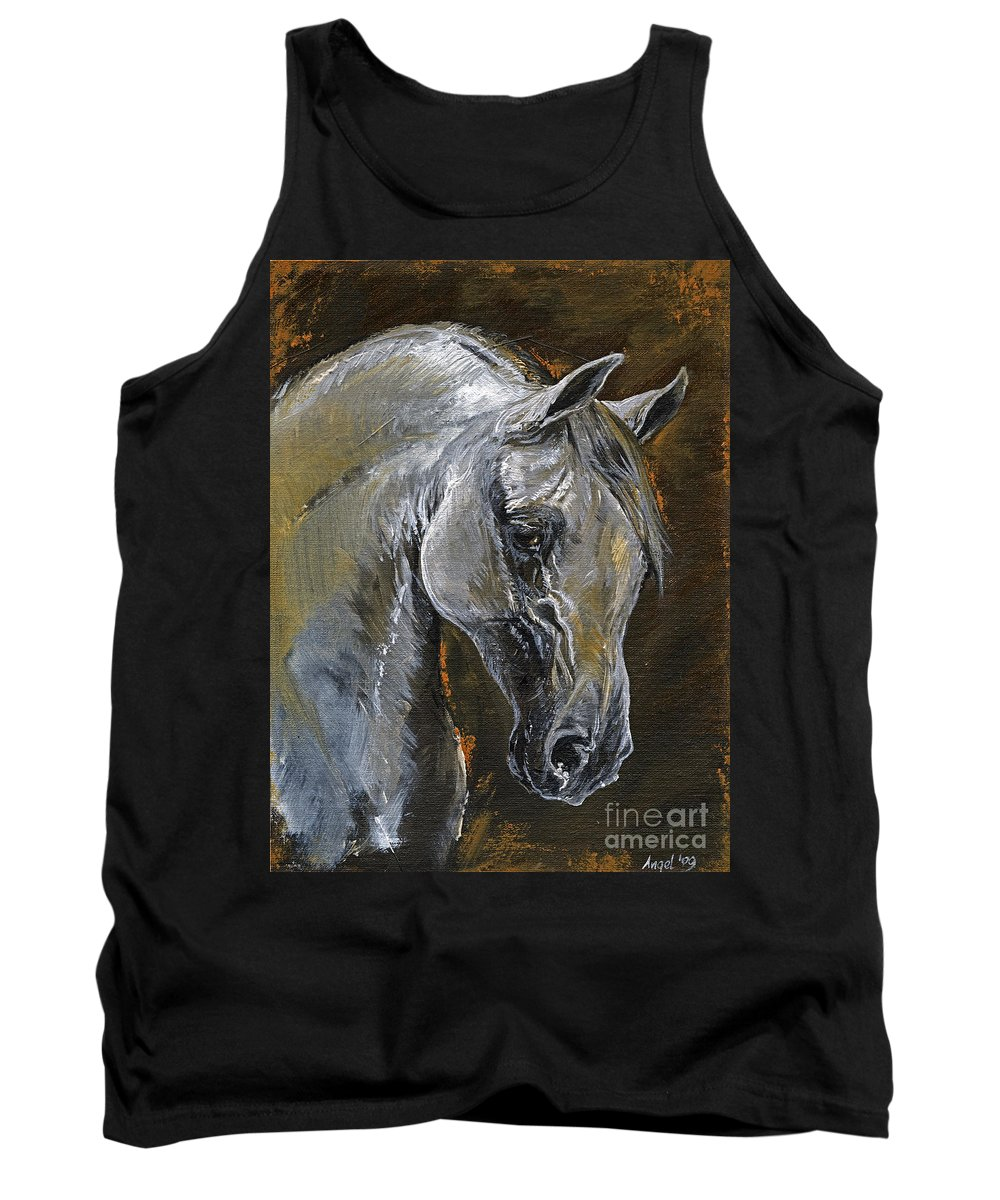 Grey Horse Tank Top featuring the painting The Grey Arabian Horse Oil Painting by Angel Ciesniarska