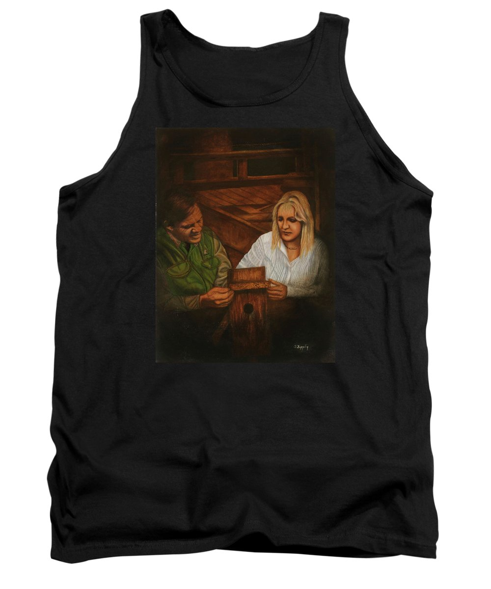 Portrait Tank Top featuring the painting The Guide by Sherryl Lapping