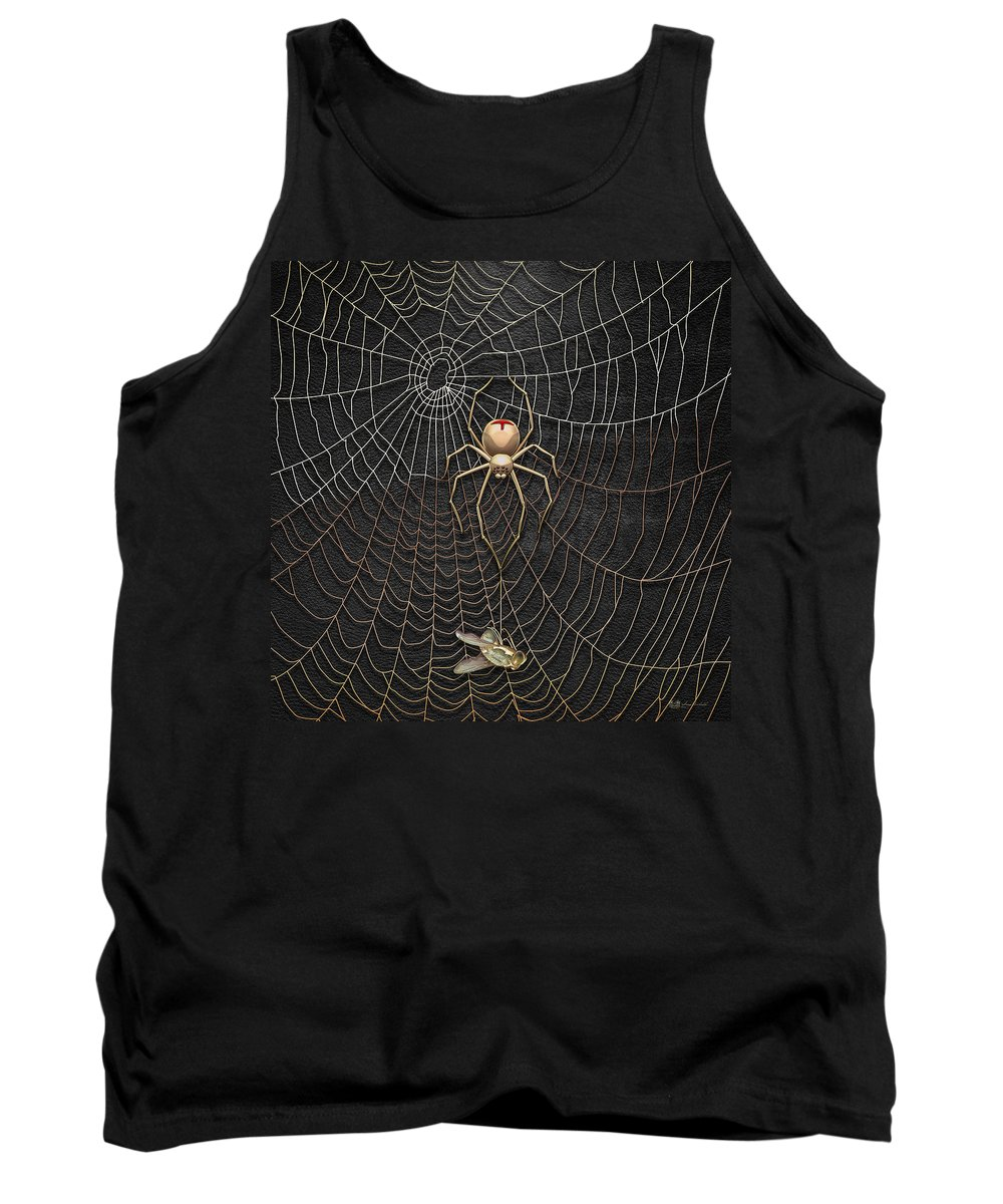 'beasts Creatures And Critters' Collection By Serge Averbukh Tank Top featuring the digital art The Hunter And Its Pray - A Gold Fly Caught By A Gold Spider by Serge Averbukh