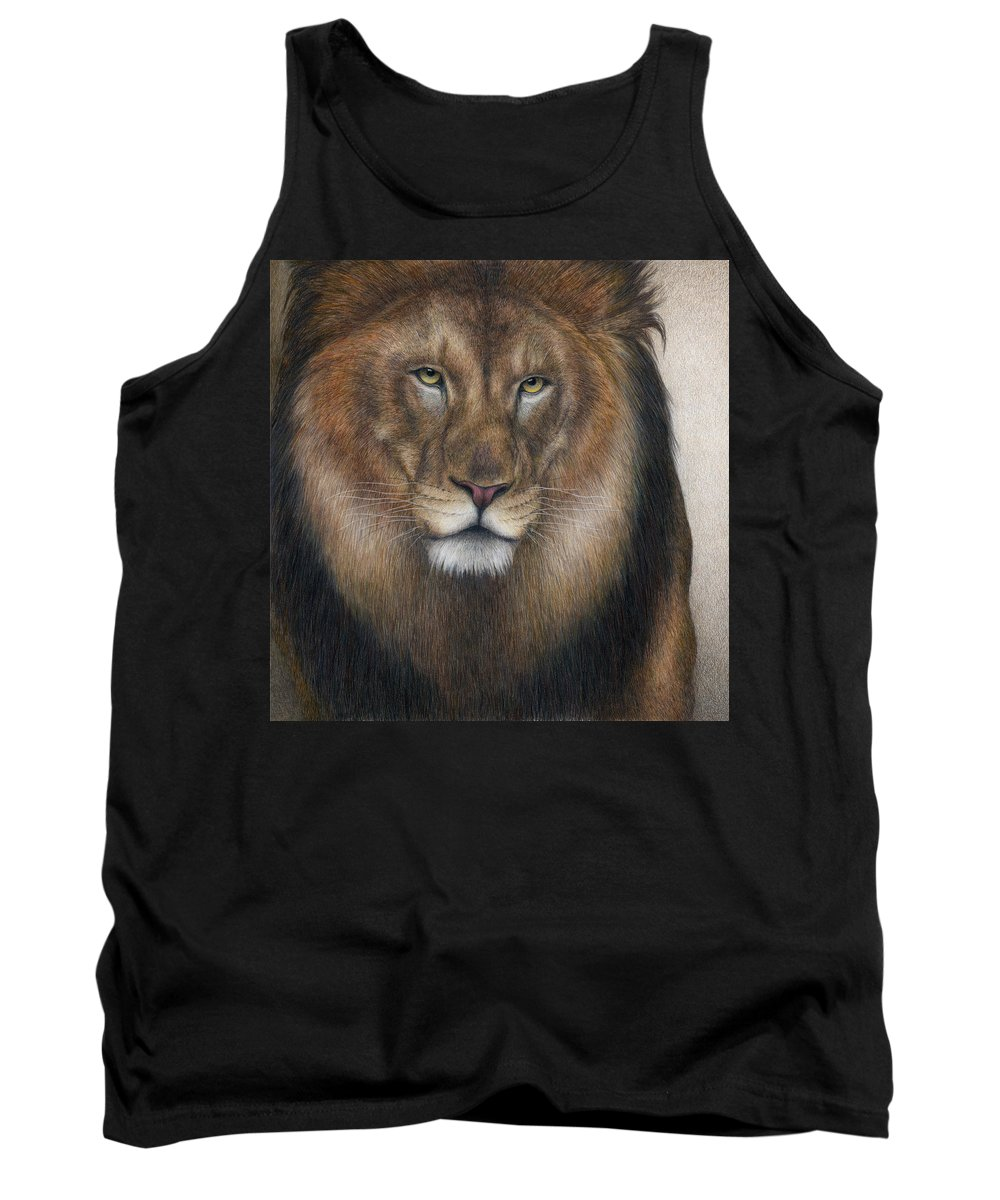 African Lion. Male Lion Tank Top featuring the painting The King Grows Weary by Pat Erickson