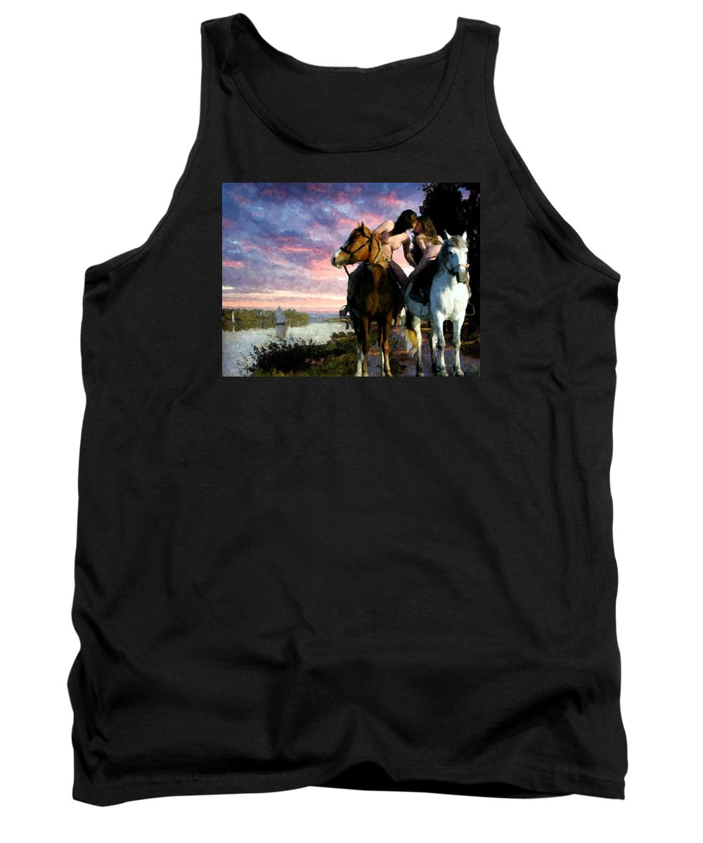 Horses Tank Top featuring the digital art The Kiss by Marcus Lewis