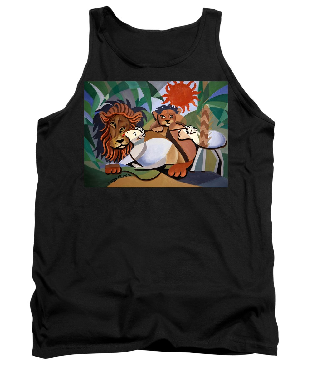 The Lion And The Lamb Tank Top featuring the painting The Lion And The Lamb by Anthony Falbo
