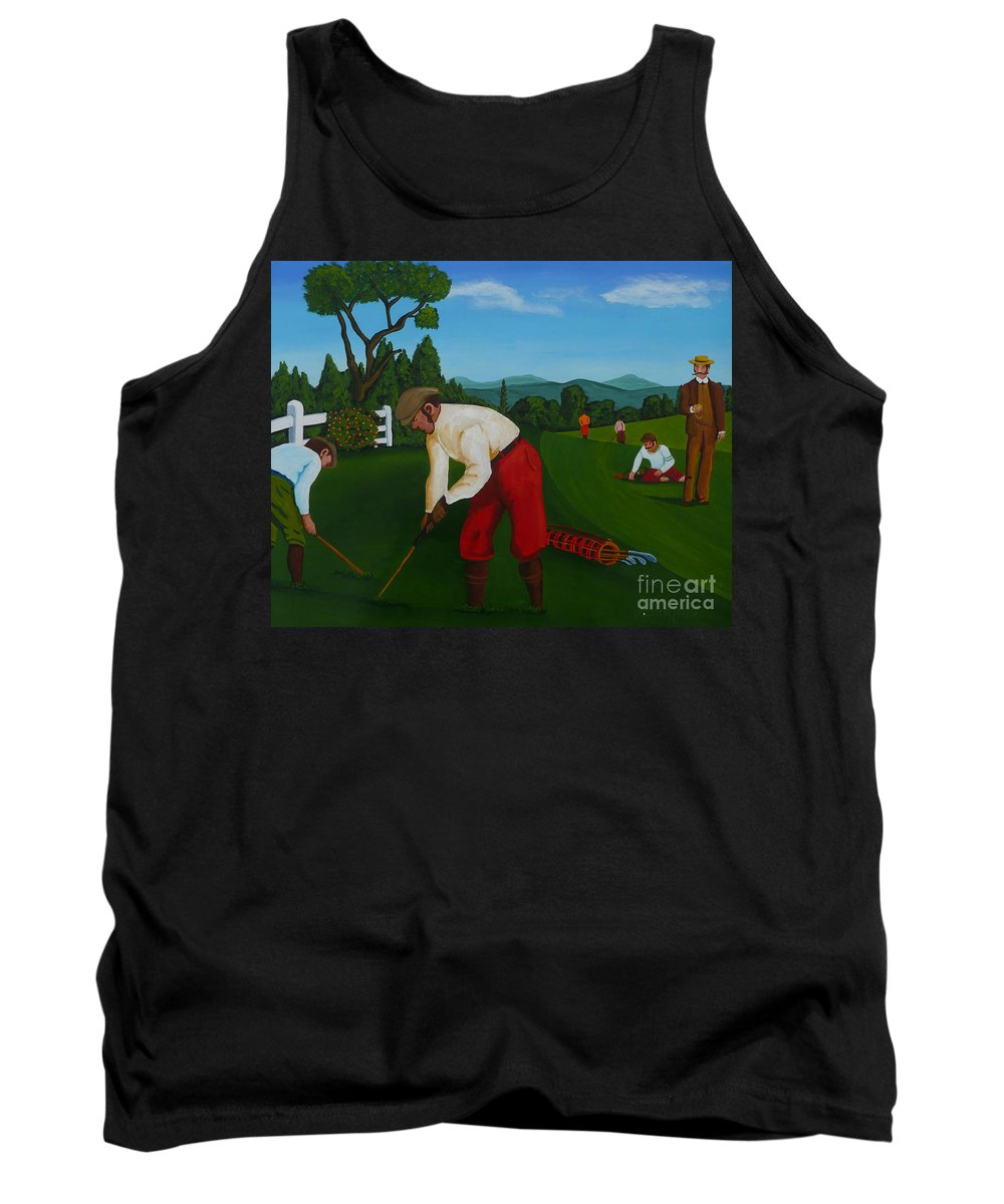 Golf Tank Top featuring the painting The Lost Ball by Anthony Dunphy