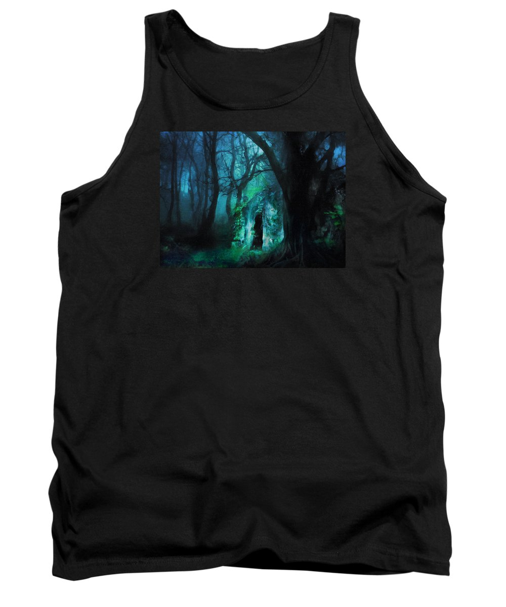 The Lovers Cottage By Night Tank Top featuring the digital art The Lovers Cottage By Night by Georgiana Romanovna