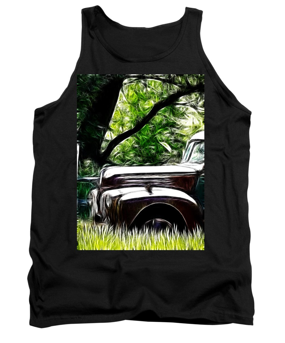 1947 Ford Pickup Tank Top featuring the photograph The Old Ford Truck by Steve McKinzie