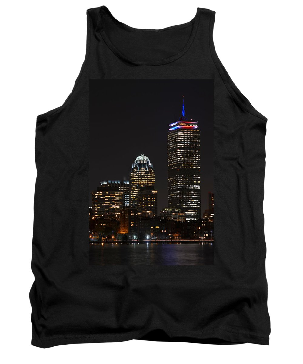 Boston Tank Top featuring the photograph The Prudential Lit Up In Red White And Blue by Toby McGuire
