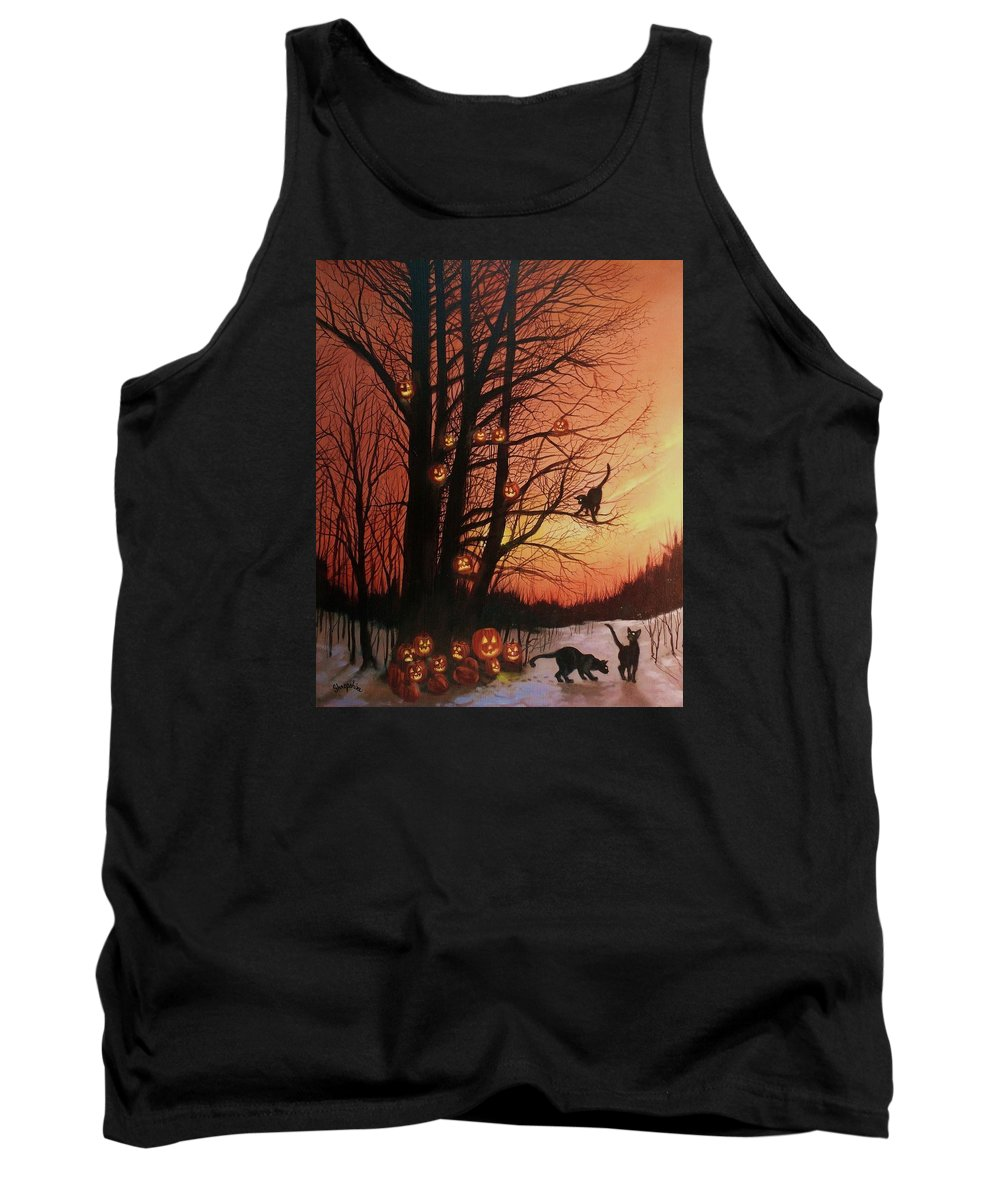 Black Cats Tank Top featuring the painting The Pumpkin Tree by Tom Shropshire