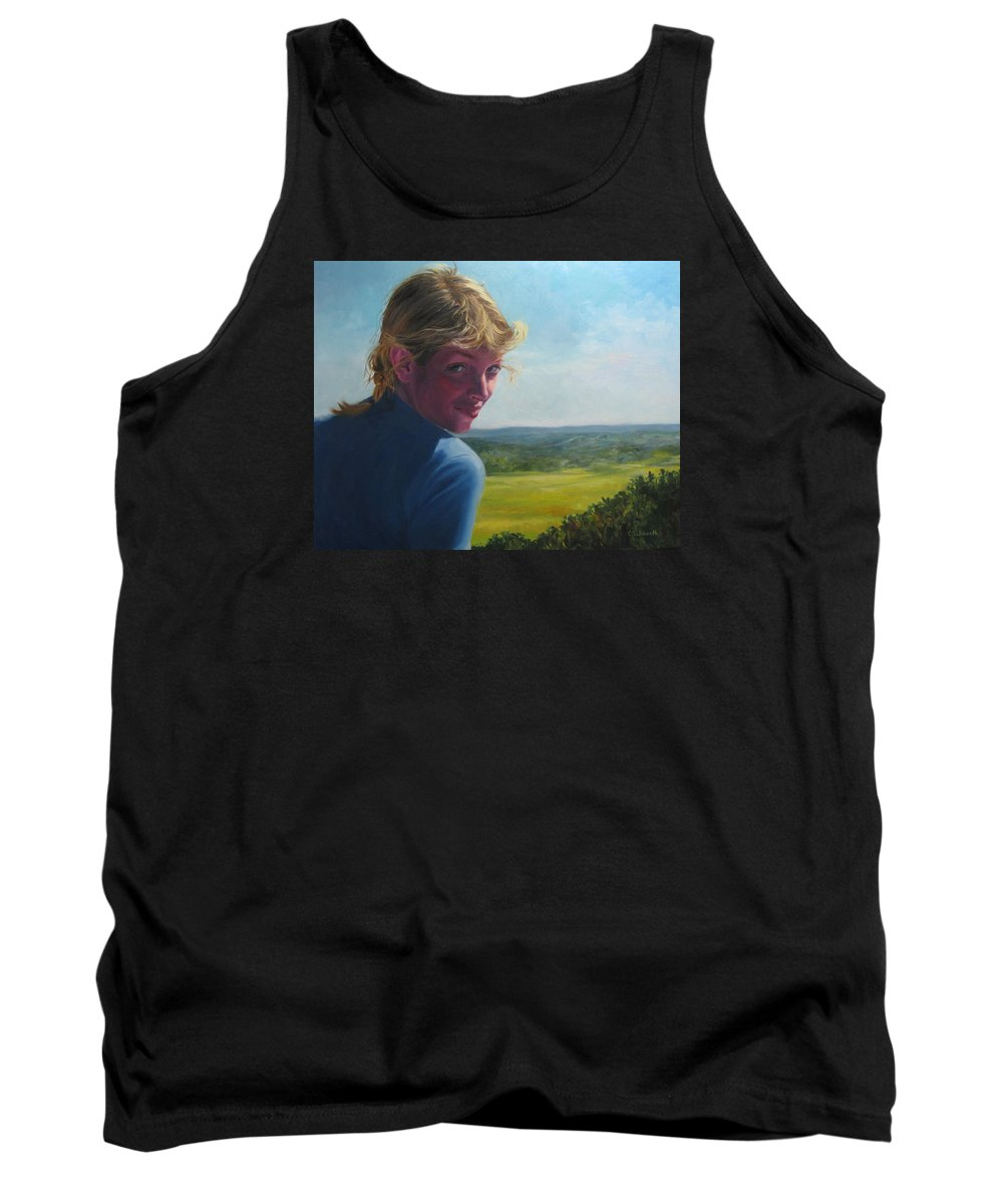 Portrait Tank Top featuring the painting The Question Of A Minor Summit by Connie Schaertl