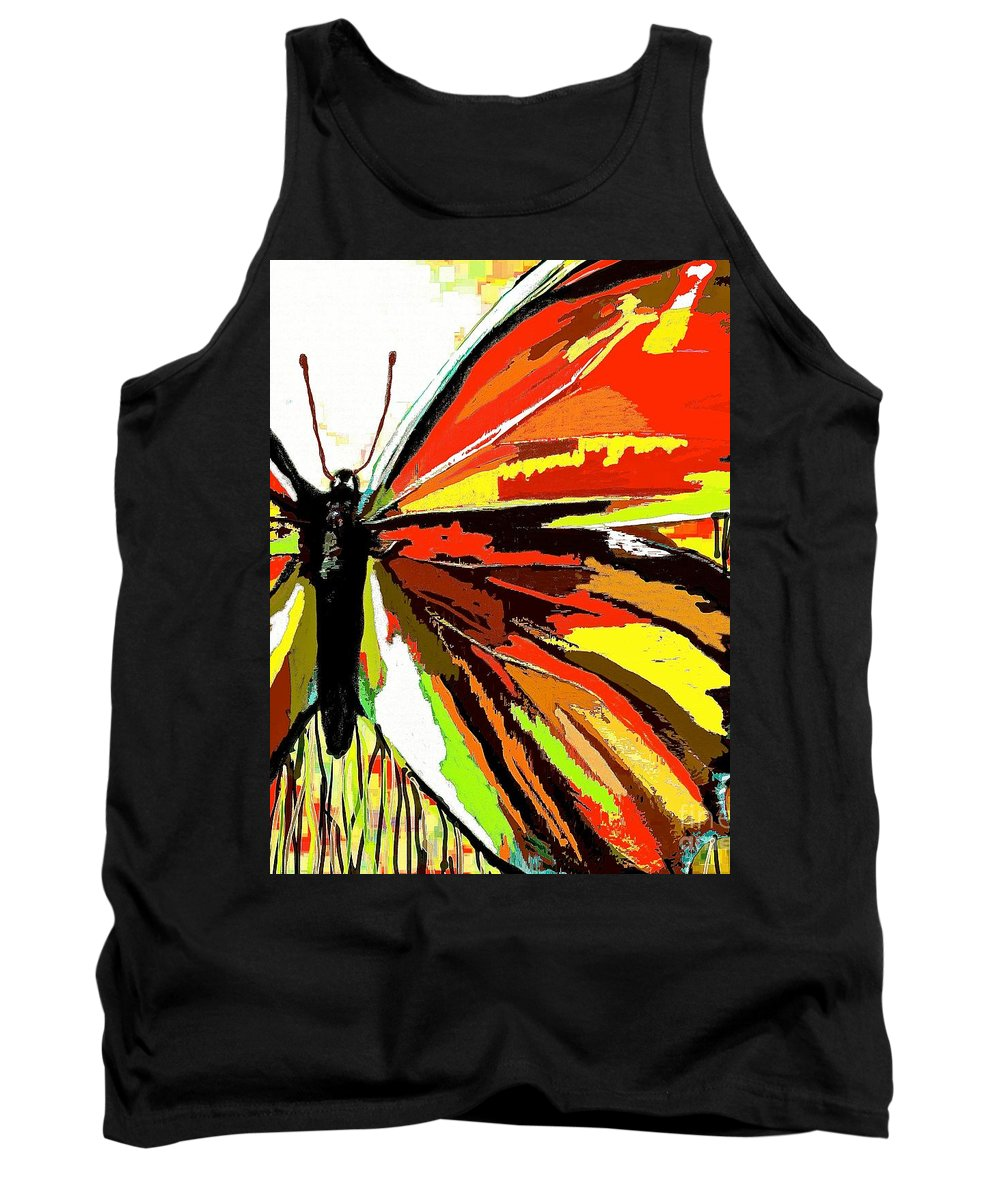 Red Butterfly Tank Top featuring the painting The Red Butterfly by Saundra Myles