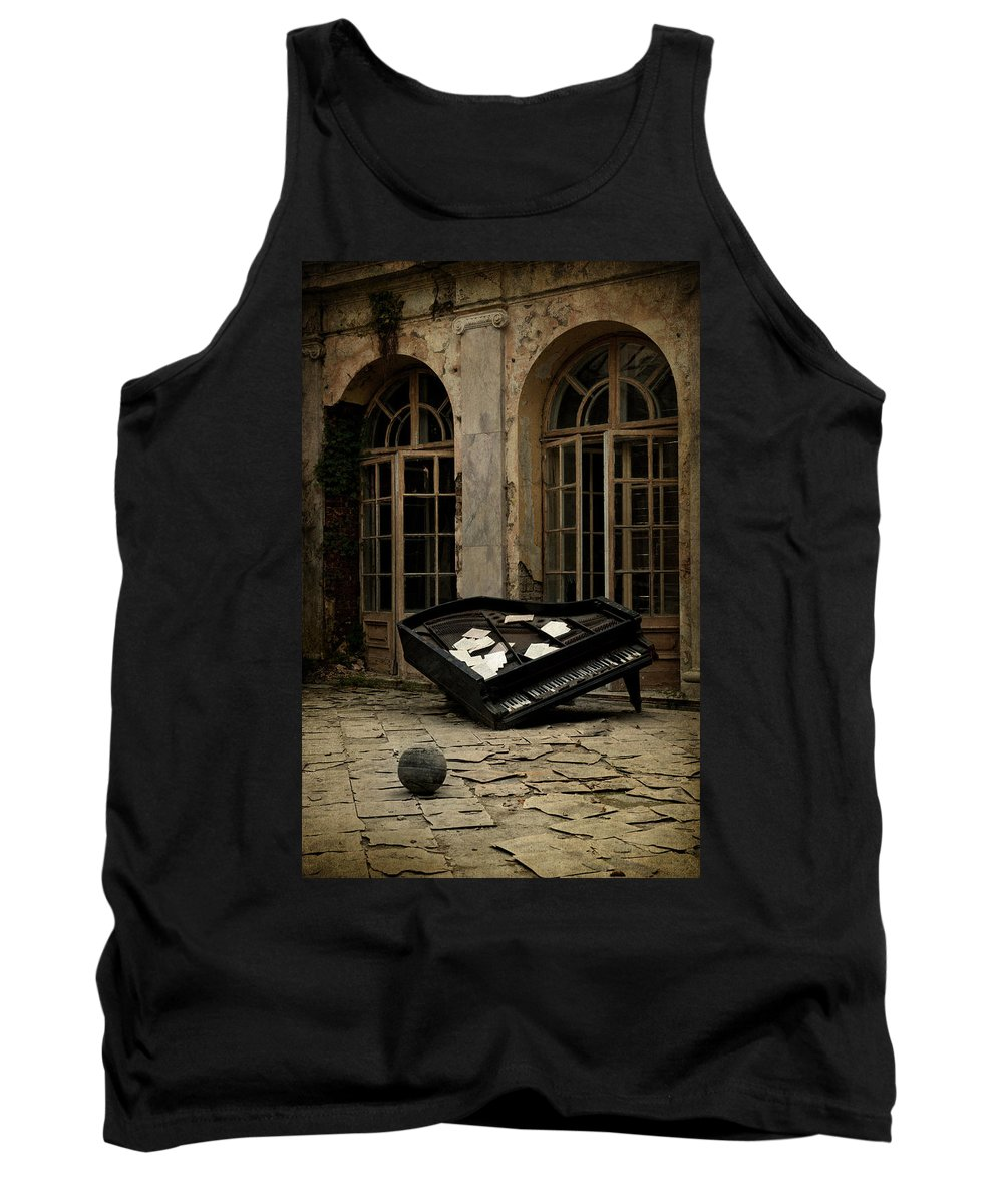Piano Tank Top featuring the photograph The Stone Sphere And Broken Grand Piano by Jaroslaw Blaminsky