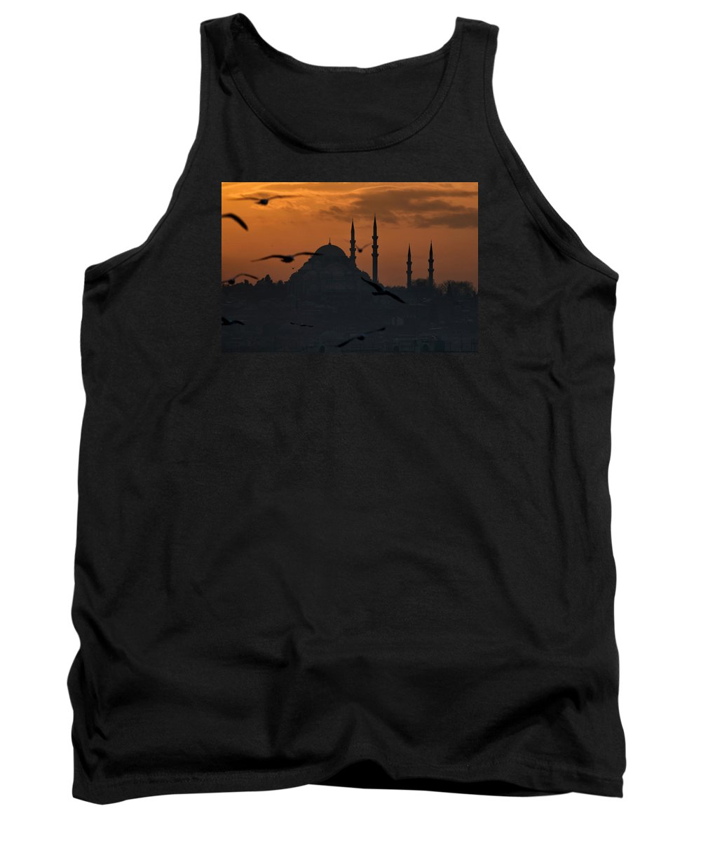 Suleymaniye Mosque Tank Top featuring the photograph The Suleymaniye Mosque At Sunset by Ayhan Altun