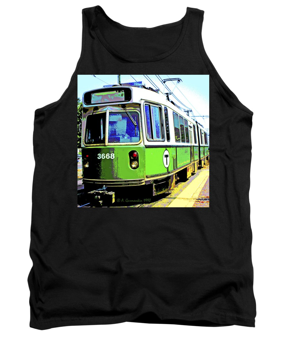 Trolley Car Tank Top featuring the digital art The T Trolley Car Boston Massachusetts 1990 Poster by A Gurmankin