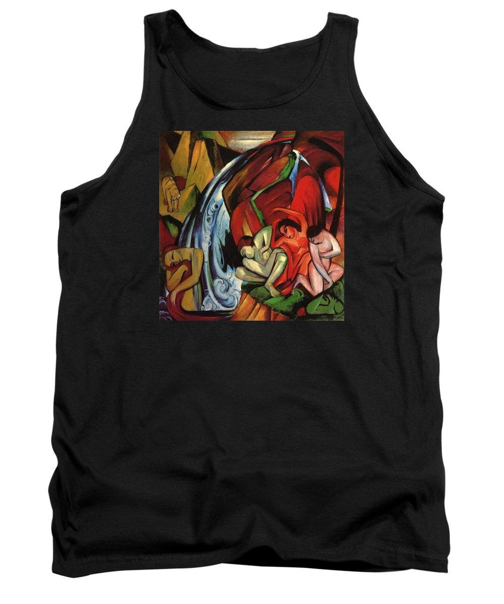 Franz Tank Top featuring the painting The Waterfall 1912 by Franz Marc