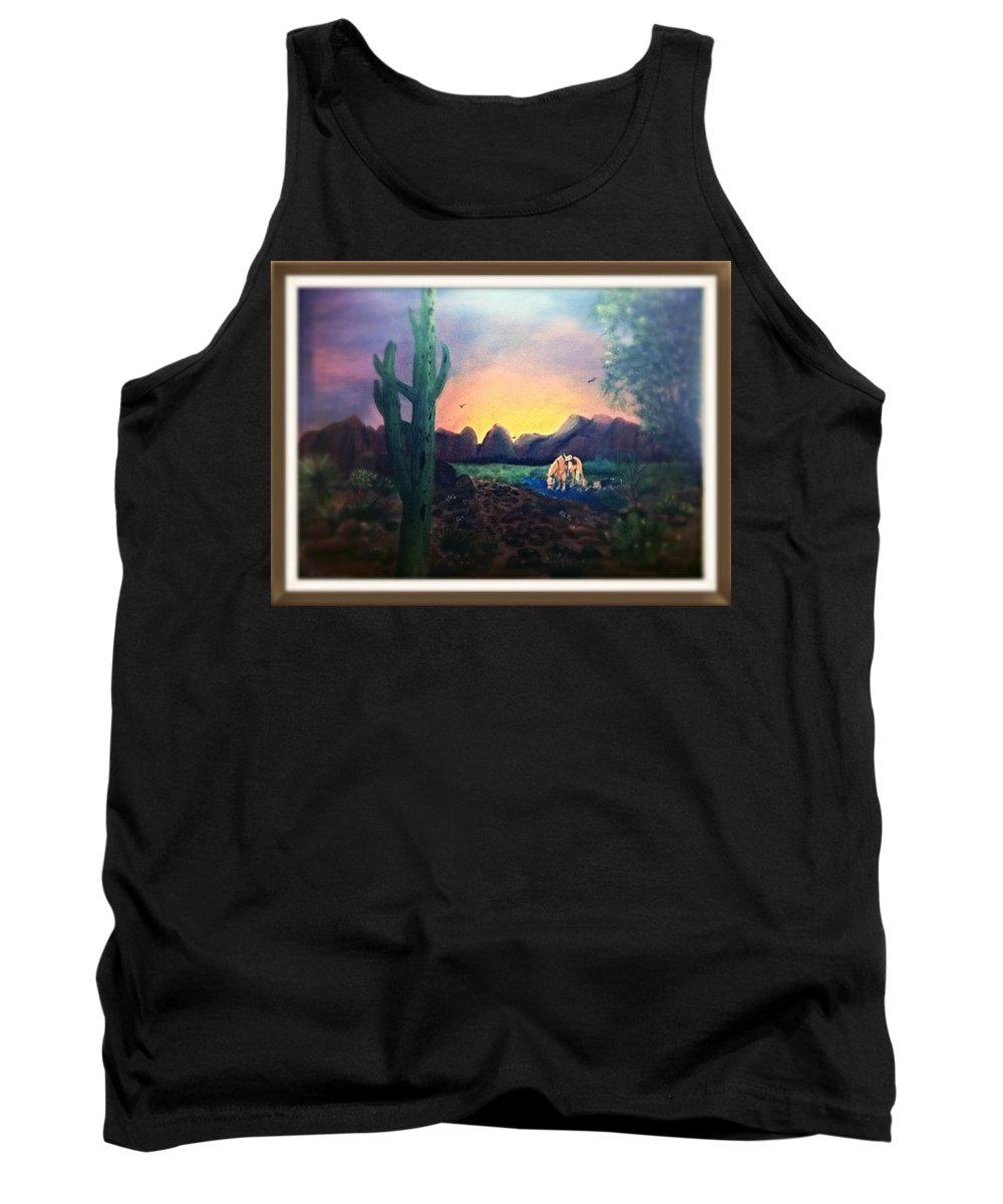 Horses Sunsets Southwest Tank Top featuring the painting The Watering Hole by Catherine Swerediuk