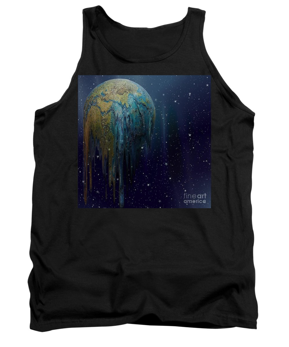 The World Is Melting Tank Top featuring the digital art The World Is Melting by Liane Wright