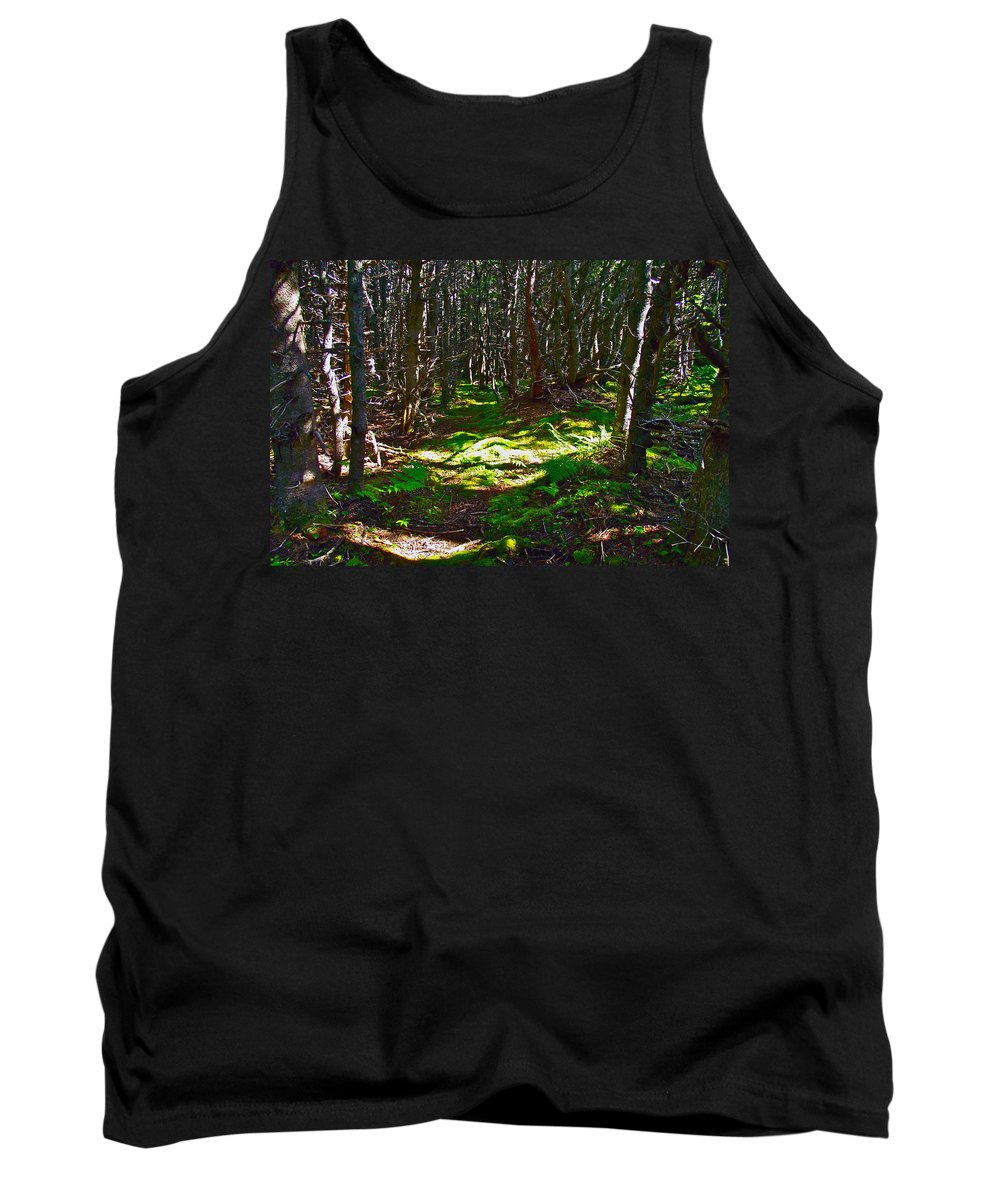 Thicket-like Woods And Spongy Moss Near Lobster Cove In Gros Morne Np Tank Top featuring the photograph Thicket-like Woods And Spongy Moss Near Lobster Cove In Gros Mor by Ruth Hager