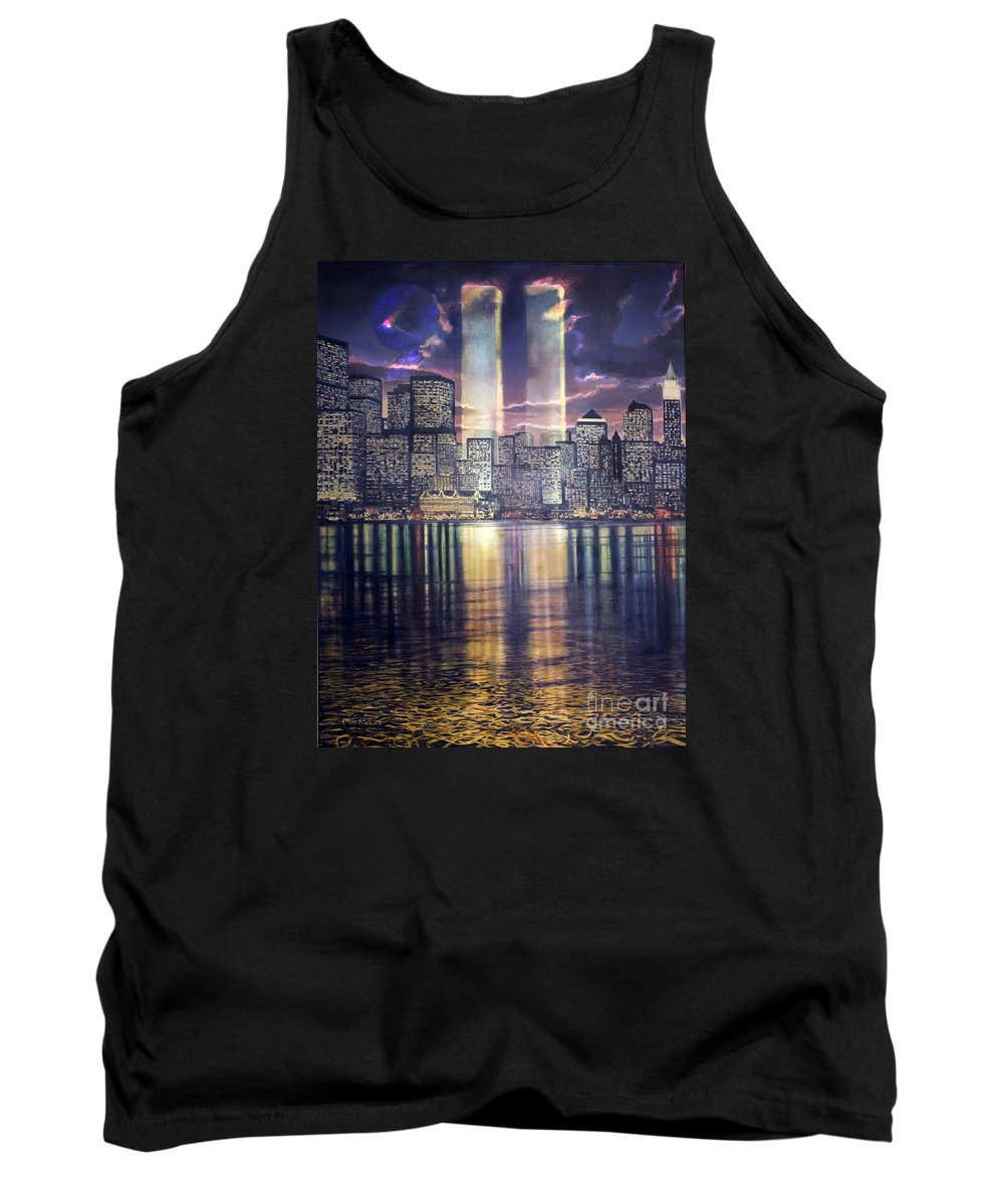 Twins Tank Top featuring the painting Thousands Of Yellow Ribbons by Miki Karni