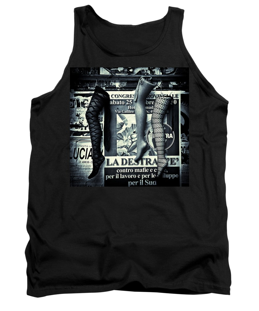Mannequin Tank Top featuring the photograph Three Mannequin Legs by Dave Bowman