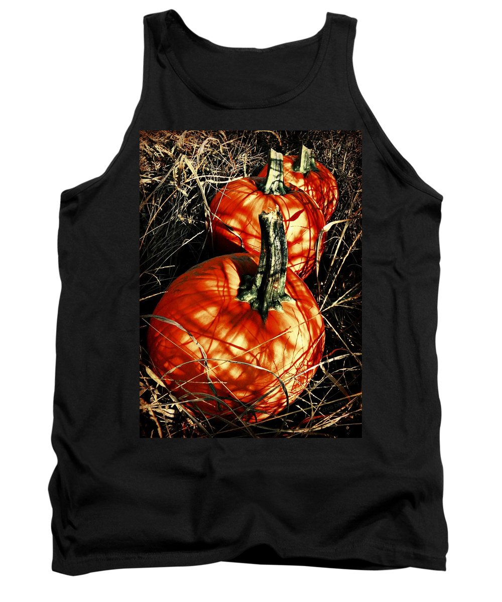 Halloween Tank Top featuring the photograph Three Pumpkins by Chris Berry