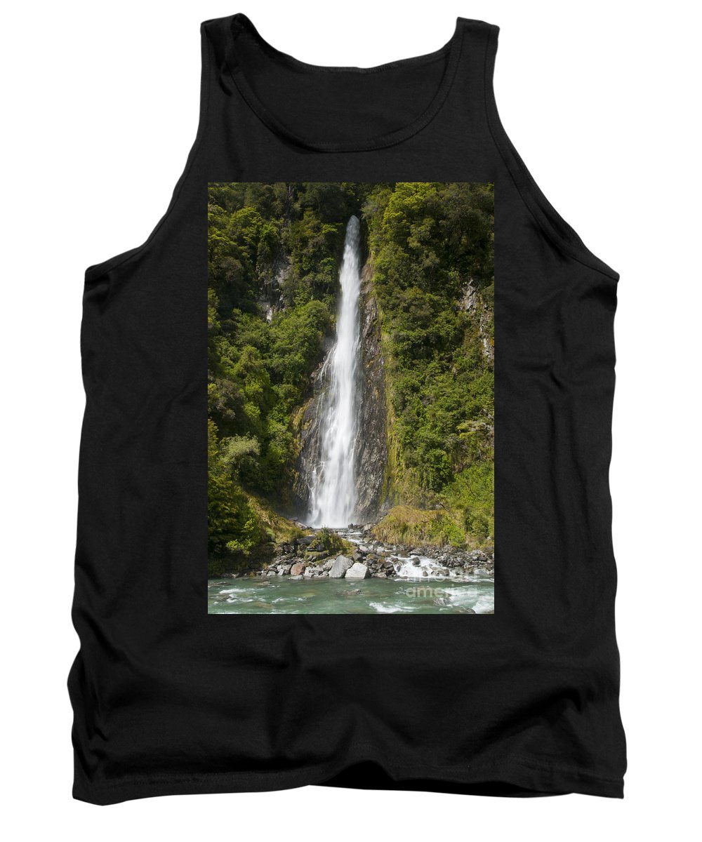 Mt. Aspiring National Park New Zealand Tree Trees Waterfalls Waterfall Thunder Creek Falls Creeks Water Tree Trees Rock Rocks Landscape Landscapes Waterscape Waterscapes Tank Top featuring the photograph Thunder Creek Falls by Bob Phillips