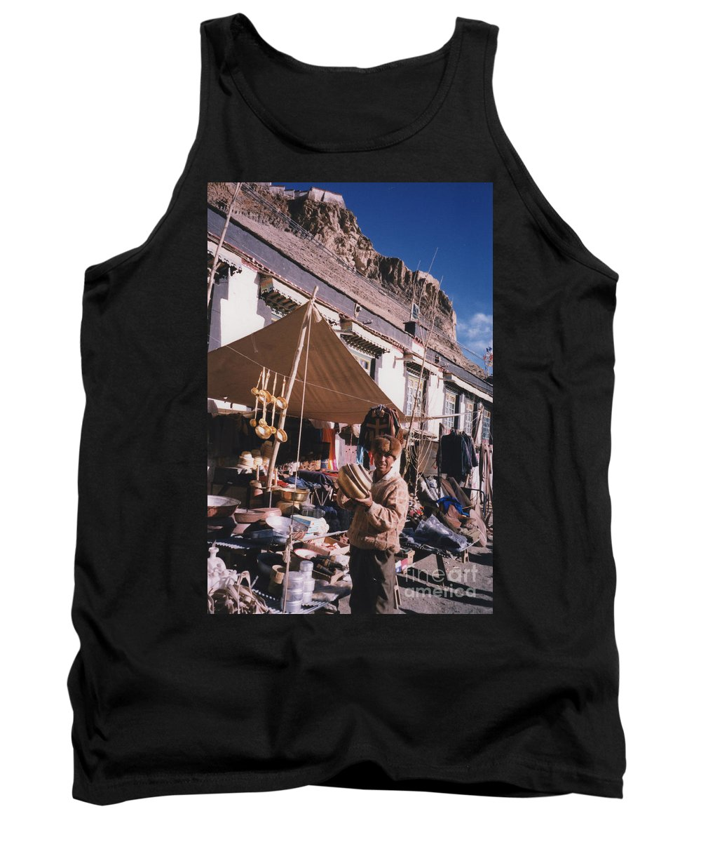 First Star Tank Top featuring the photograph Tibet Market At Gyantse By Jrr by First Star Art
