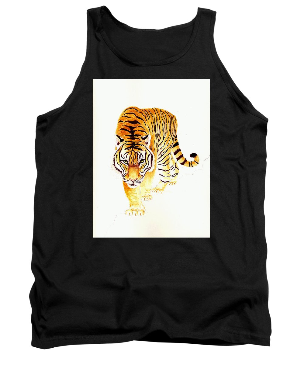 Tiger Tank Top featuring the painting Tiger by Michael Vigliotti