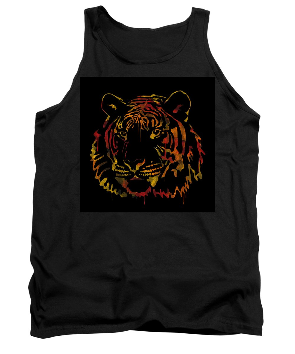 Tiger Tank Top featuring the digital art Tiger Watercolor - Black by Becca Buecher