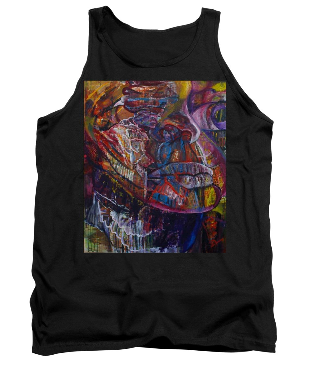 African Women Tank Top featuring the painting Tikor Woman by Peggy Blood