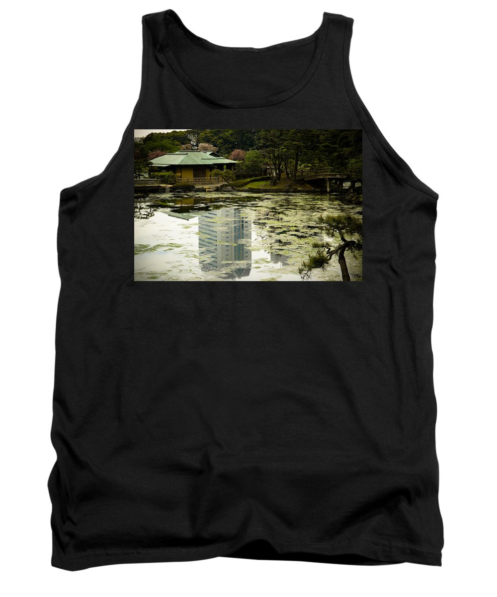 Green Tank Top featuring the photograph Tokyo Reflection by Sebastian Musial