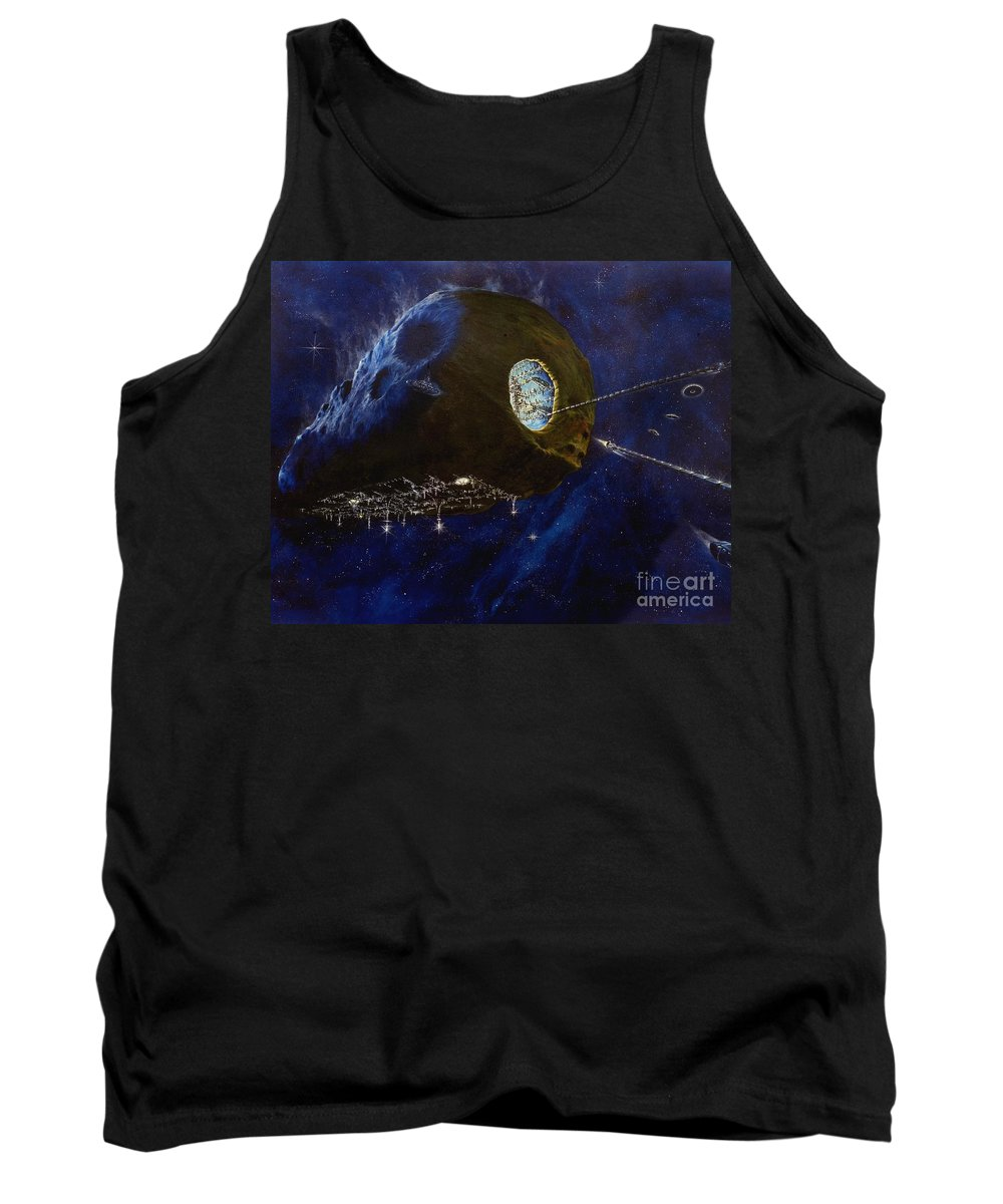 Oil Tank Top featuring the painting Tomorrow by Murphy Elliott