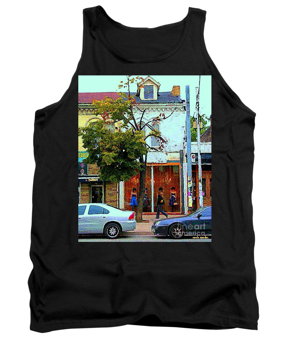Toronto Tank Top featuring the painting Toronto Stroll Past Fashion Stores Downtown Early Autumn Urban City Scenes Canadian Art C Spandau by Carole Spandau