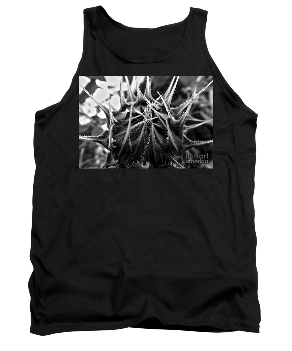 Sunflower Tank Top featuring the photograph Total Eclipse Of The Sunflower - Bw by James Aiken