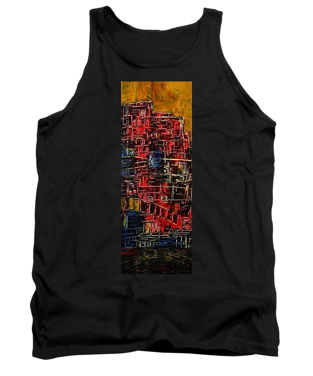 Urban Tank Top featuring the painting Tower Of Sticks by Janice Nabors Raiteri