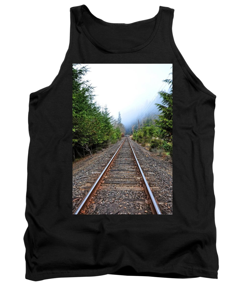 Oregon Tank Top featuring the photograph Tracks To No Where by Image Takers Photography LLC - Carol Haddon