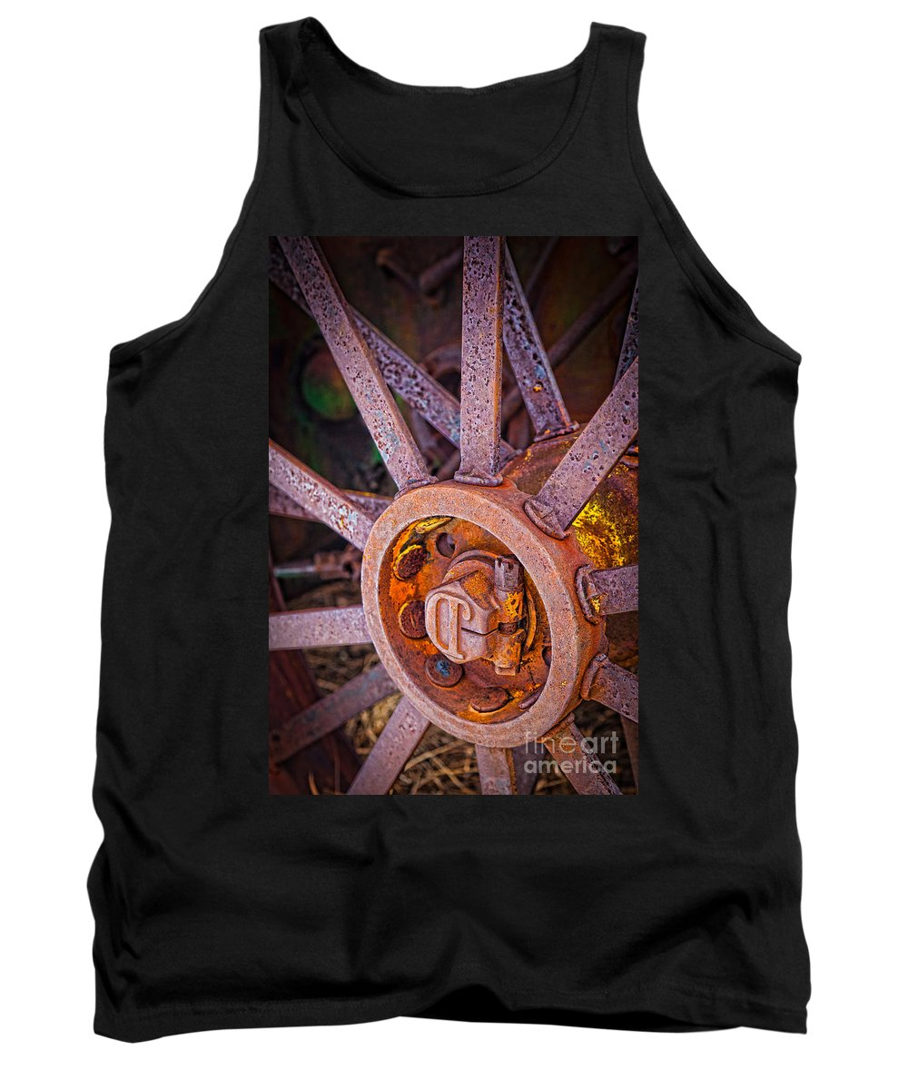 Agricultural Tank Top featuring the photograph Tractor Spokes by Inge Johnsson