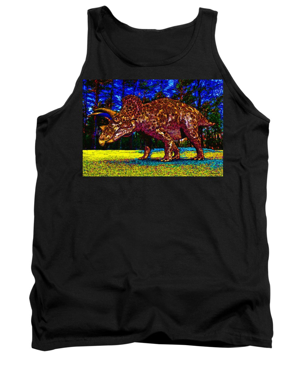 Triceratops Tank Top featuring the digital art Triceratops Painting by Ramon Martinez