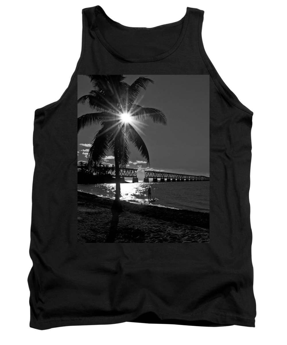 Palm Tank Top featuring the photograph Tropical Bridge In Black And White by Photos By Cassandra