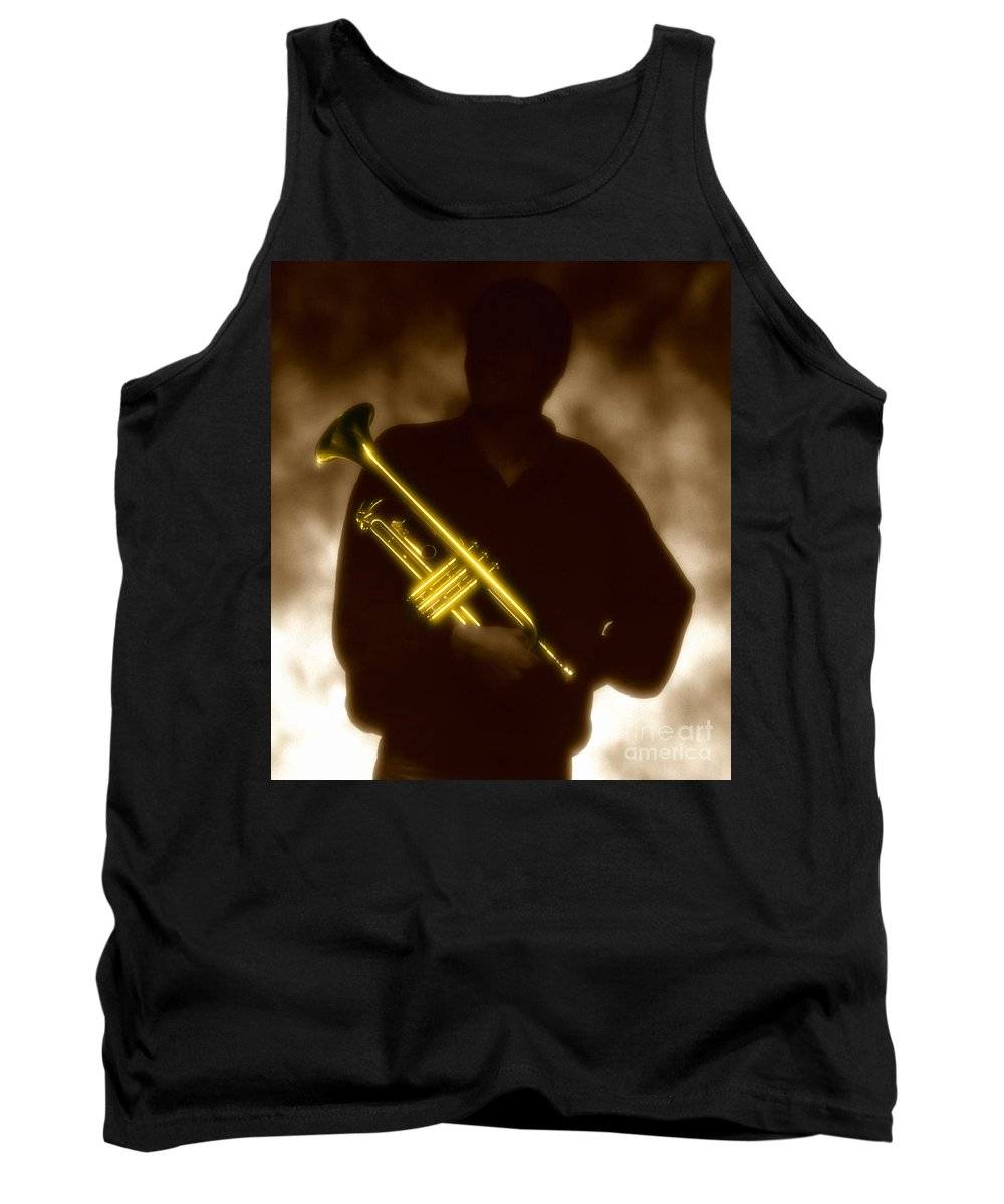 Jazz Tank Top featuring the photograph Man holding Trumpet 1 by Tony Cordoza