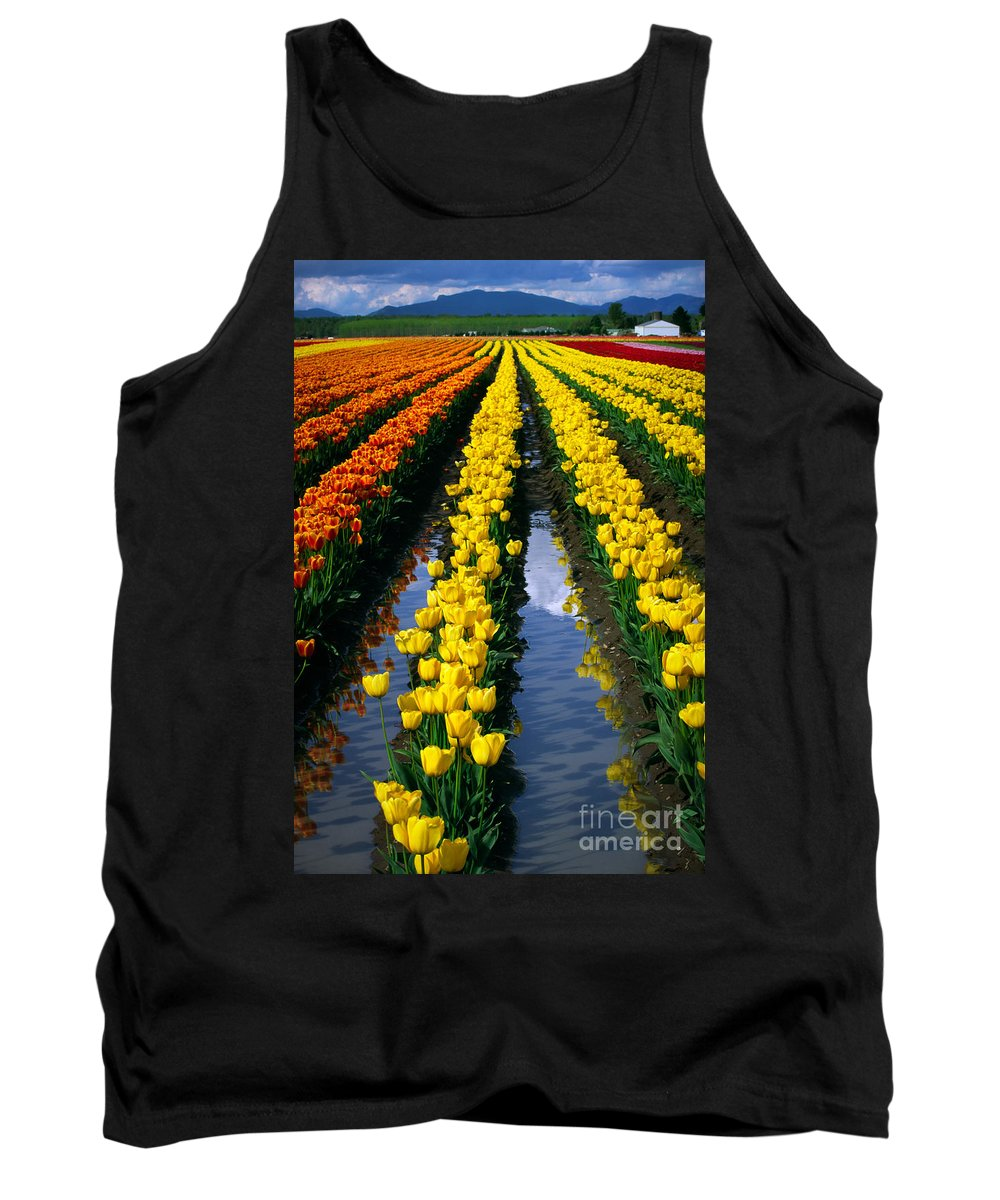 America Tank Top featuring the photograph Tulip Reflections by Inge Johnsson