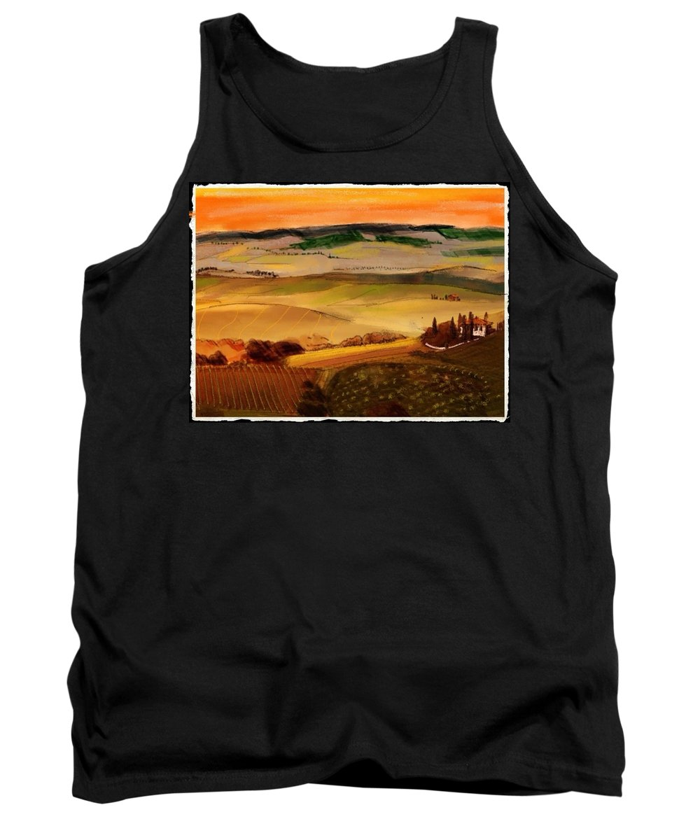 Colored Pencil And Pastel Sketch Of A Villa In Tuscany . Golden Hills Of Grain And Vineyards Tank Top featuring the mixed media Tuscany by Craig Nelson
