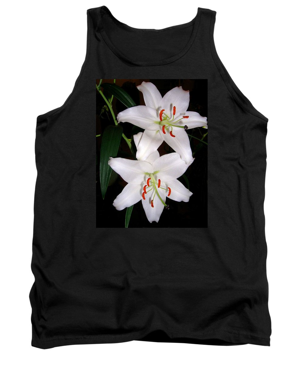 Flower Tank Top featuring the photograph Two Lilies by Valerie Ornstein