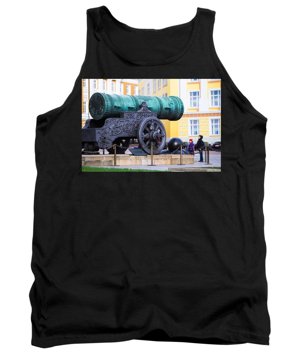 Architecture Tank Top featuring the photograph Tzar Cannon Of Moscow Kremlin by Alexander Senin