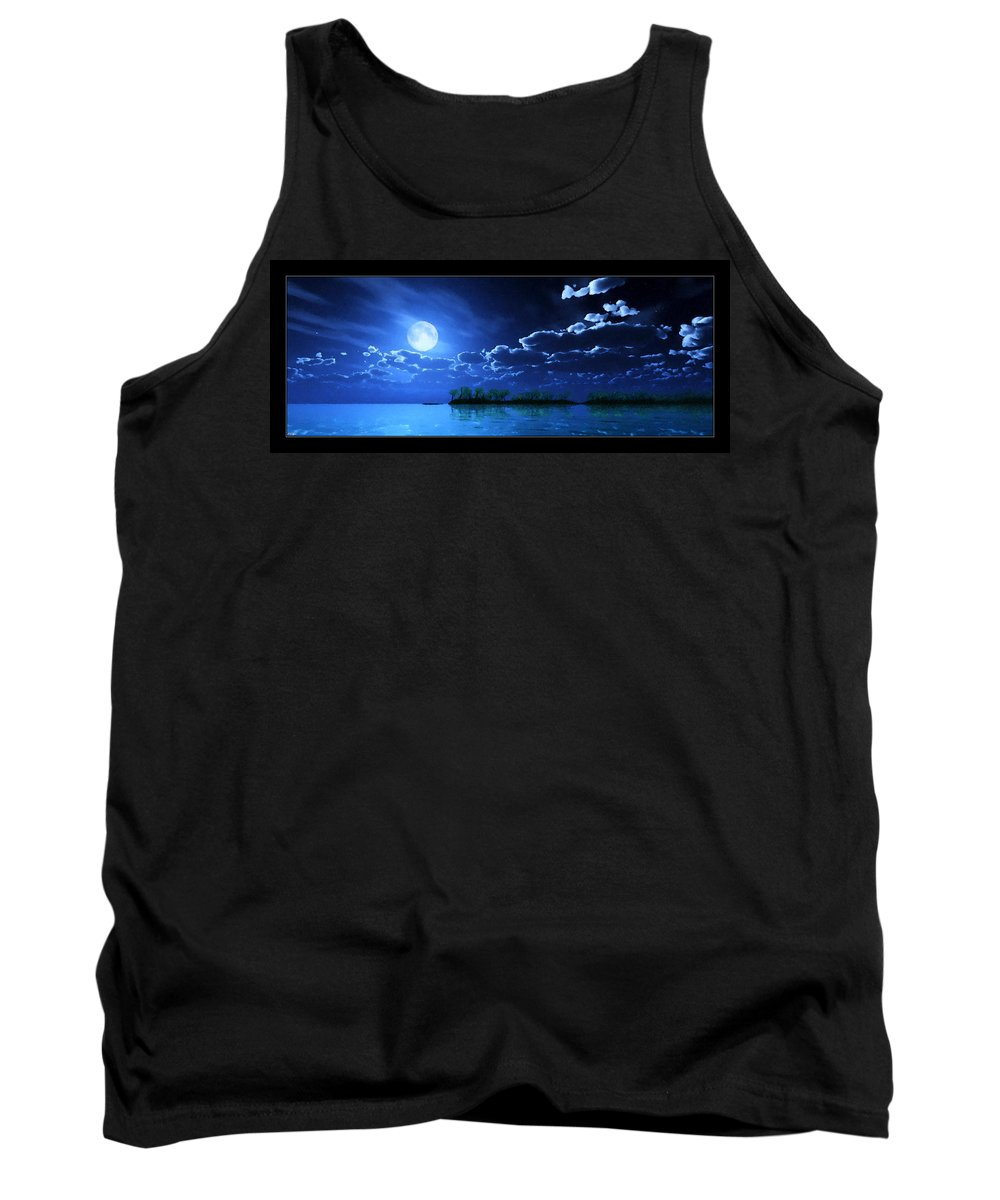 Landscape Tank Top featuring the digital art Under A Silvery Moon...artistic Effect by Tim Fillingim