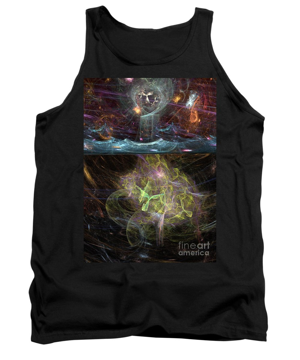 Angel Tank Top featuring the digital art Undersea Angels Green by Russell Kightley