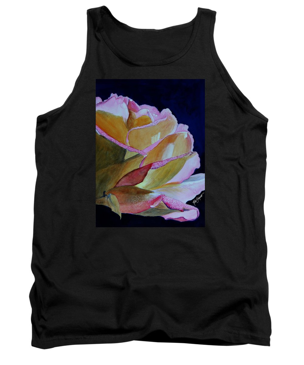 Watercolor Tank Top featuring the painting Unfolding Rose by Ruth Bodycott