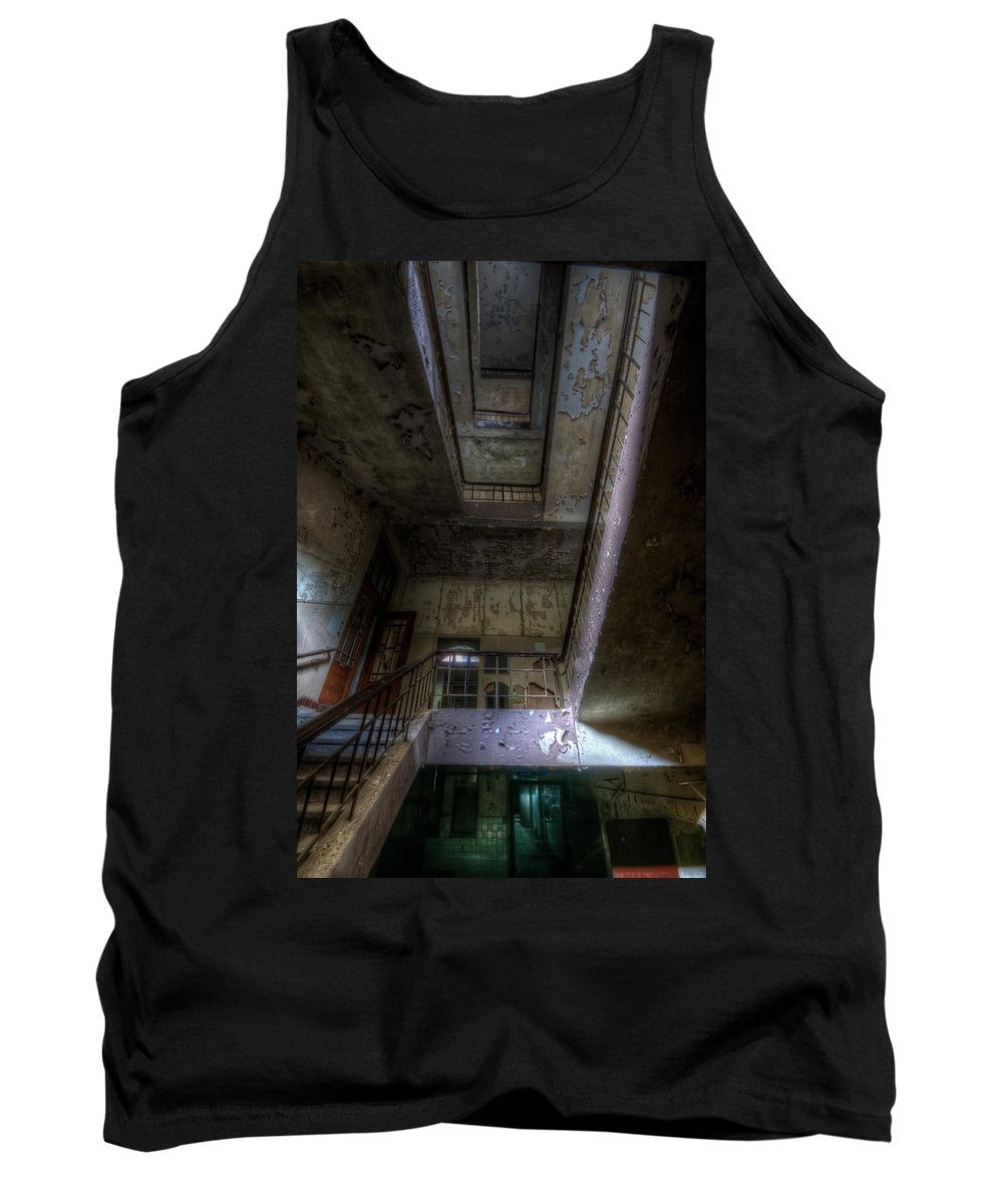 Urbex Tank Top featuring the digital art Up Stairs Down Stairs by Nathan Wright