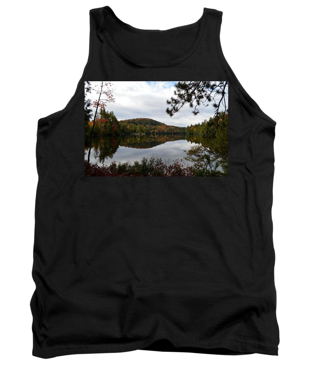 Canoe Carry Tank Top featuring the photograph Upper Saranac Bay In Fall by Thomas Phillips