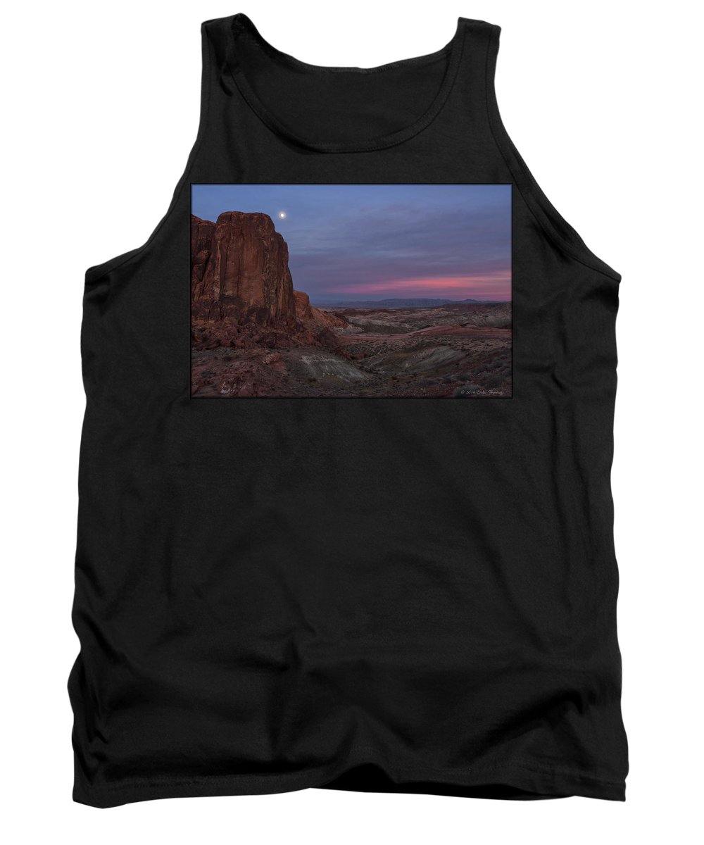 Rocks Tank Top featuring the photograph Valley Of Fire Moonrise by Erika Fawcett