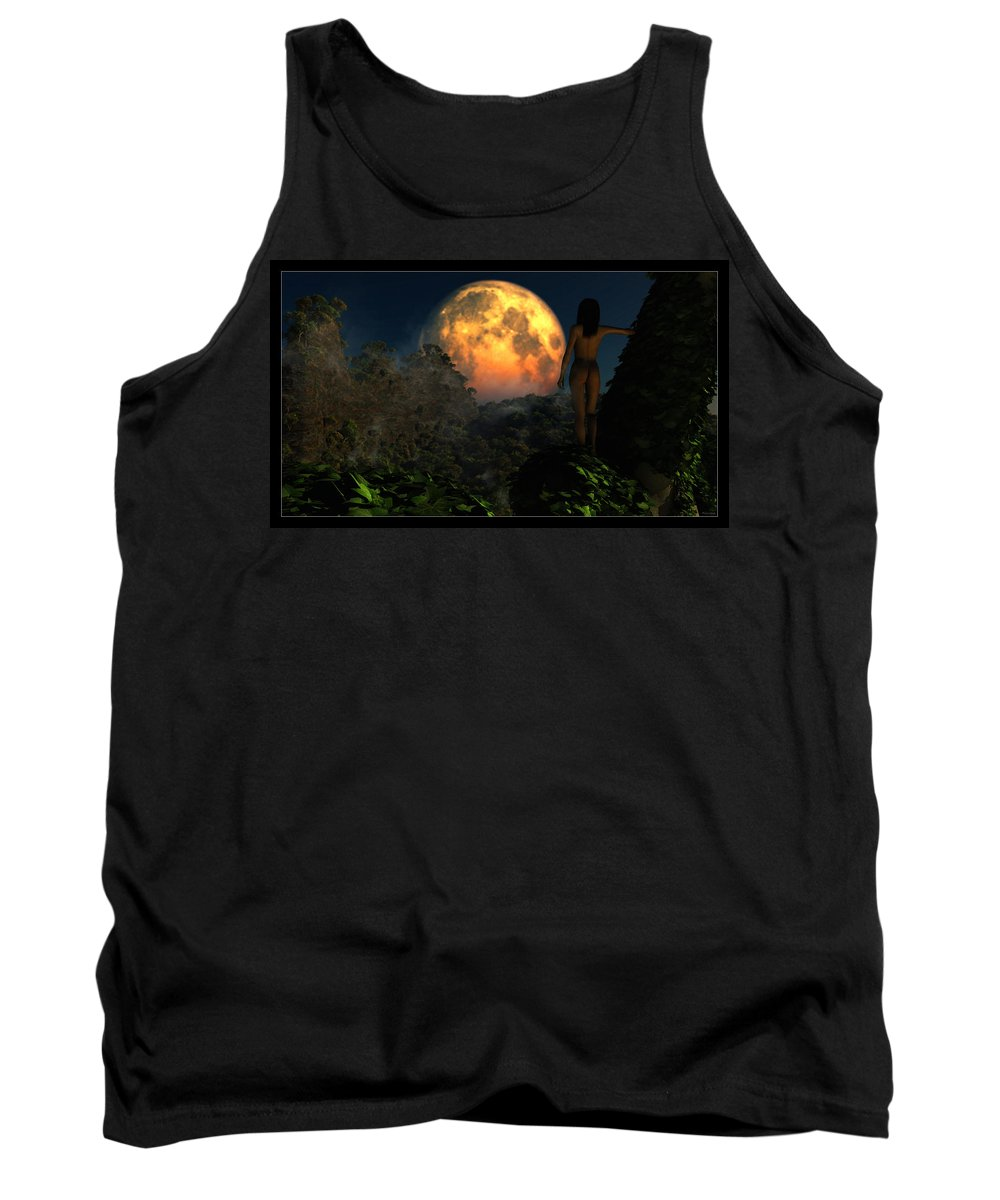 Landscape Tank Top featuring the digital art Valley Of The Moon... by Tim Fillingim
